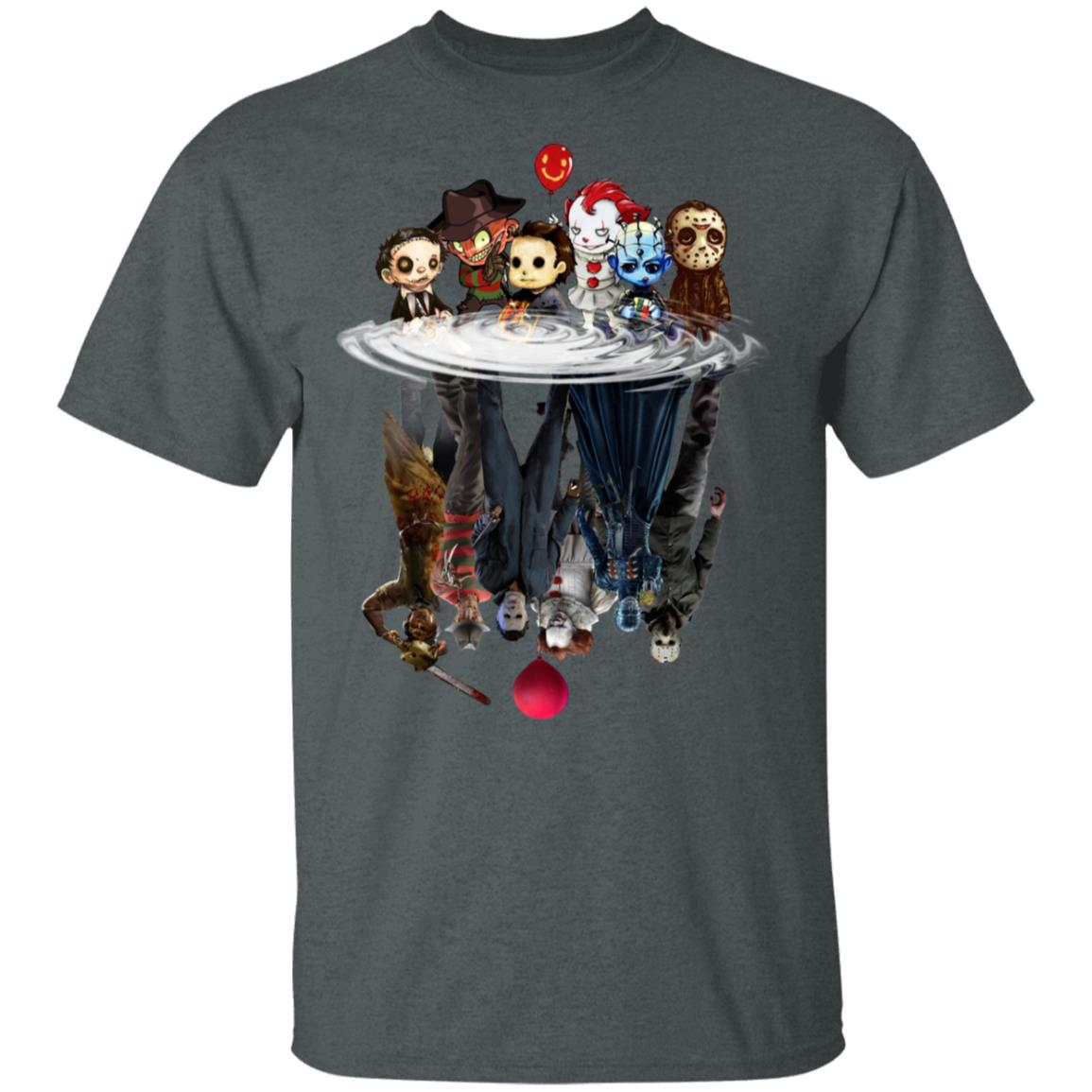 Horror characters movies water mirror reflection shirt TShirt Unisex Hoodie Sweatshirt For Mens Womens Ladies